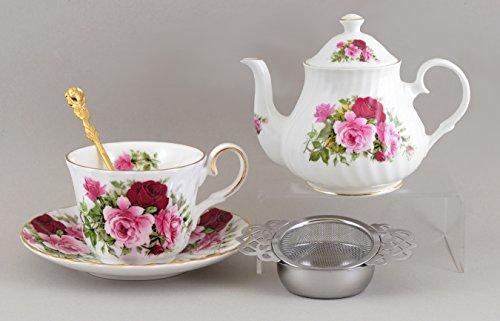 Fine English Bone China 4 Piece Gift Set - Summertime Rose Design