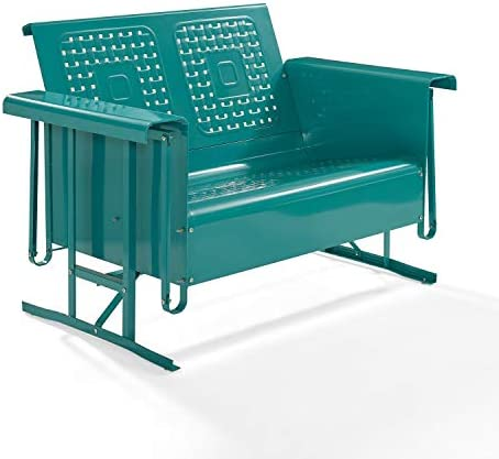 Crosley Bates Retro Metal Gliding Loveseat in Turquoise