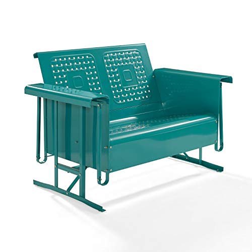 Crosley Bates Metal Gliding Patio Loveseat in Turquoise (Furniture Glider Metal Outdoor)