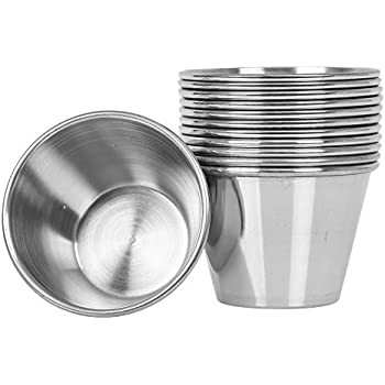 (12 Pack) Stainless Steel Sauce Cups 2.5 oz, Commercial Grade Dipping Sauce Cups, Individual Condiment Sauce Cups / Ramekins by Tezzorio
