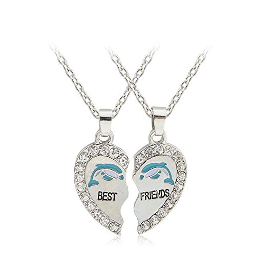 (Girl Palace Best Friends Heart Shaped BFF Diamond Break Pendent Necklaces Friendship Gift for Friends (Best Friend Dolphin))