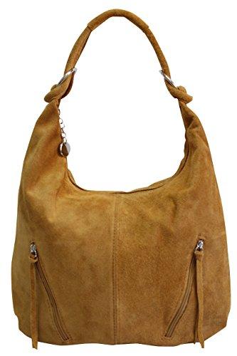 bolsa de de cuero mujeres compartimiento Bolso Bolso las de gamuza grande AMBRA Moda WL822 hombro de de Marrón de asas Shopper Claro Bolso 4gqFE5