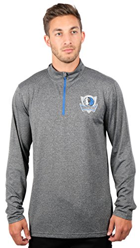 UNK NBA Adult Men Quarter Zip Pullover Shirt Athletic Quick Dry Tee, Charcoal, Heather, Large