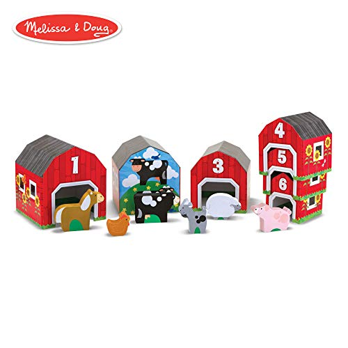 Farm Blocks - Melissa & Doug Nesting and Sorting Barns and Animals With 6 Numbered Barns and Matching Wooden Animals