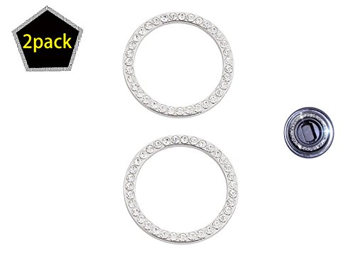 Zhl Car Decor Crystal Rhinestone  Auto Engine Start Stop Decoration Rhinestone Car Engine Crystal Interior Ring Decal For Vehicle Ignition Button 2 Pack