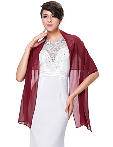 Fashion Women's Chiffon Bridal Evening Soft Wraps Shawls Scarves Wine -