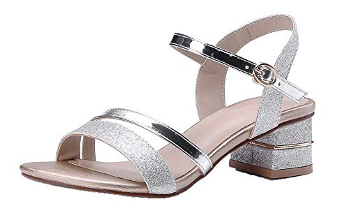 Toe Color Buckle Assorted Materials Silver Women Open VogueZone009 Sandals Blend q7wH10ZA