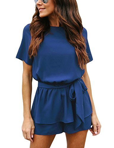 luvamia Women's Casual Royal Blue Short Sleeve Belted Overlay Keyhole Back Jumpsuits Romper Size Medium (Fits US 8 - US 10) -