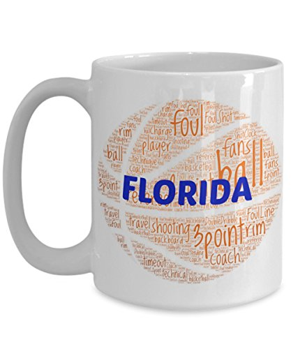 (FLORIDA GATORS Basketball mug - coffee tea cup for college sports fan - ceramic team gift -- NCAA college basketball -- 11 ounce or 15 ounce white)