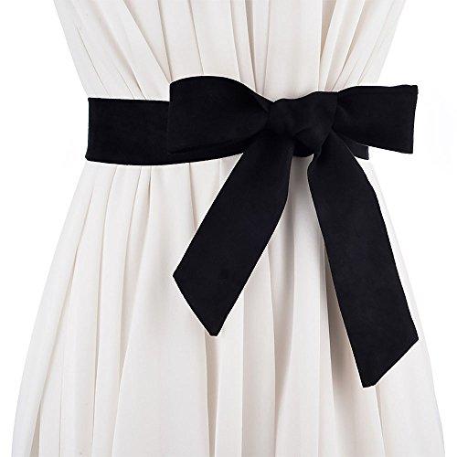 Ya Jin Women Suede Fabrics Obi Belt Self Knot Tie Up Waist Band Corset ()