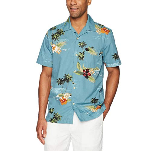 TiItstoy Summer Mens Casual Beach Printed Button Short Sleeve Hawaiian T-Shirt Top Blouse (Blue,Small)