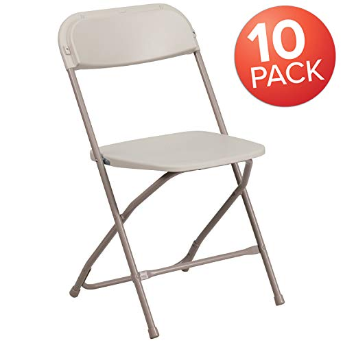 Flash Furniture 10 Pk. HERCULES Series 800 lb. Capacity Premium Beige Plastic Folding Chair (Chair Plastic Outdoor)
