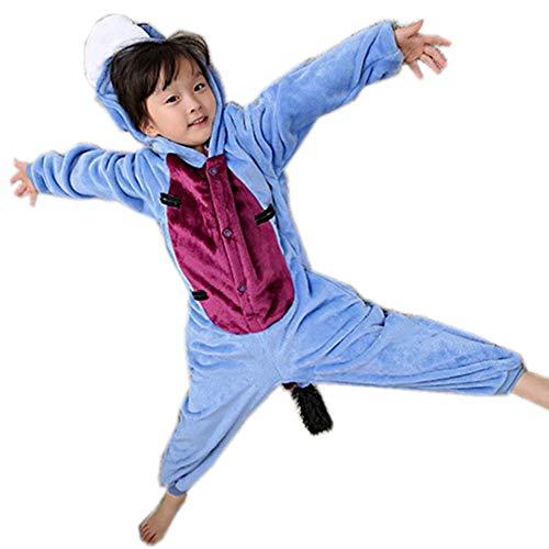 Kids Animal Costume-Childrens Plush Pajamas(blue-125-for -
