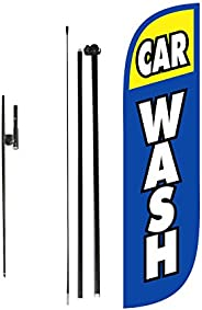 LookOurWay Feather Flag Car Wash Themed Complete Set with Poles and Ground Spike, 5-Feet