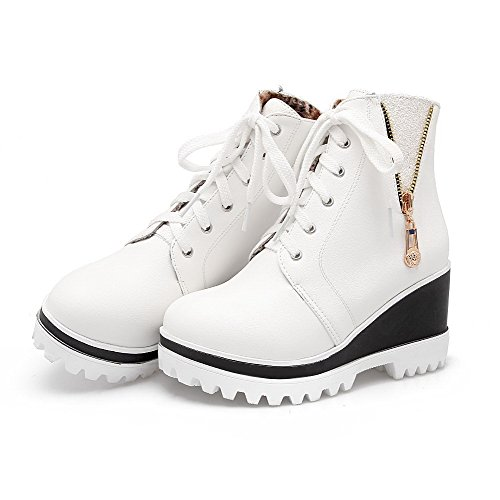 AllhqFashion Womens Solid PU High-Heels Lace-up Round Closed Toe Boots White xQ1bh