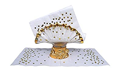 TROLIR Napkins, White with Gold Dots, 3-ply, Pack of 40 Decorative Paper Napkins, Stamped with Sparkly Gold Foil Dots, Ideal for Wedding, Party, Birthday, Dinner, Lunch, Cocktail