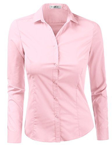 Doublju Womens Slim Fit Simple Solid Long Sleeve Button Down Dress Shirt BABYPINK Small