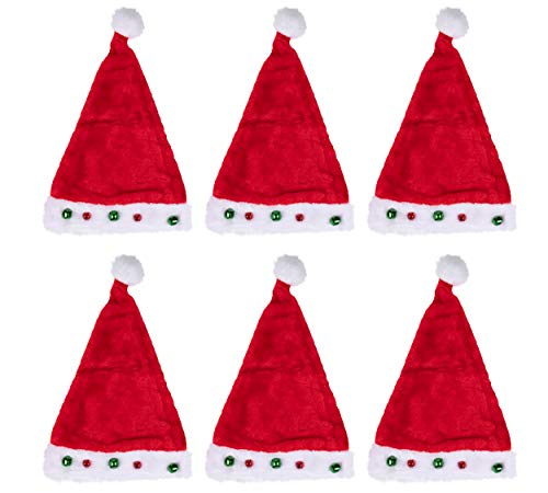 Classic Santa Claus Hats - 6-Pack Christmas Party Hats, Holiday Costume Accessories, Plush Felt Red and White With Small Bells, Festive Novelty Accessories For Adults, 17 x 11 Inches
