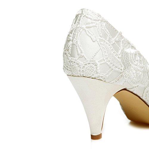 JIA Chaussures de Satin Satin Ivoire Chaussures de JIA Strass Mariée Femme 5949420 Fleur Mariage Pompes Pour Peep Dentelle Talon Cône Toe 5dqnwExC