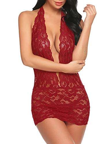 Women's Halter Teddy Lingerie One Piece Lace Bodysuit Backless Plunging Wine Red M