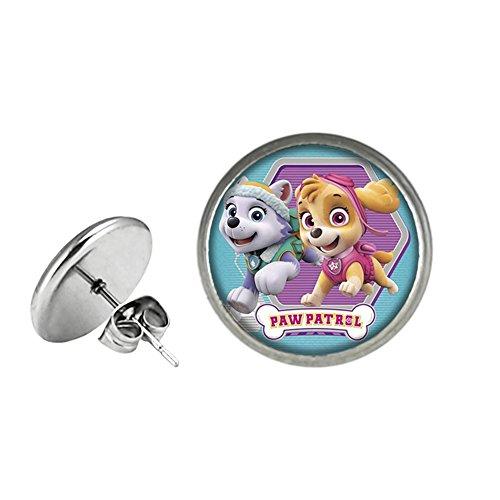 Paw Patrol Post Stud Silvertone Premium Quality Earrings TV Comics Movies -