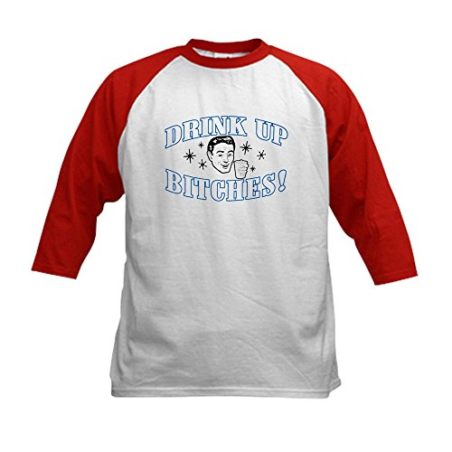 Royal Lion Kids Baseball Jersey Beer Drink Up Bitches - Red/White, Medium (10-12) ()