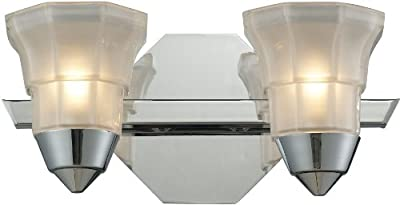 Elk 11391/2 12 by 5-Inch Deco 2-Light Bathbar with Translucent Lined Glass Shade, Polished Chrome Finish