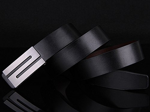 E-Clover Men's Casual Smooth S Buckle Black Jean Leather Belt (110CM) by E-Clover (Image #2)