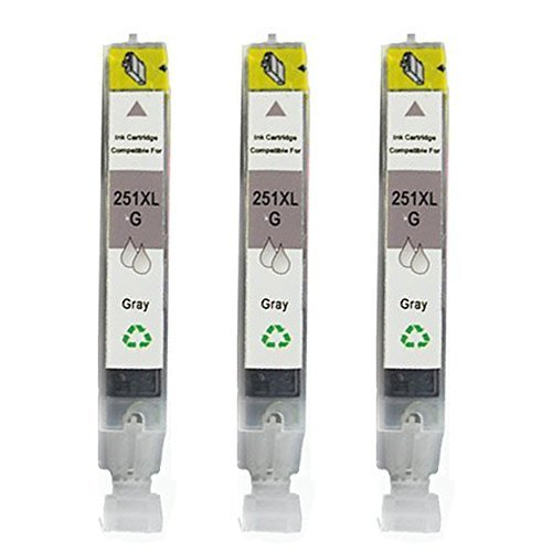 HOTCOLOR 3 Pack CLI-251XL New Compatible Grey Ink Cartridge For Cannon PIXMA MG5420 PIXMA MG5450 PIXMA MG6320