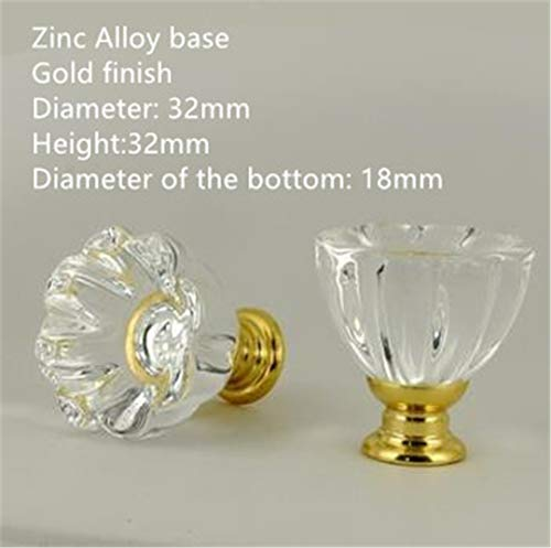 HM&FNITHANPUL 30Mm Bubble Ball Frosted Round Crystal Ball Pumpkin Shaped Clear Crystal Kitchen Cabinet Knob Drawer Handle Door Pull Clear Lotus Gold