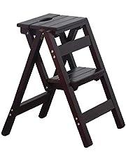 مقعد متين قابل للطي، رف من الخشب الصلب على شكل وردة - سلم خشبي منزلي متعدد الوظائف داخلي متسلّق (اللون : B)، اللون: D