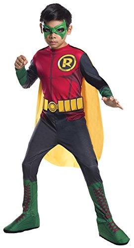 [UHC Boy's Robin Dc Comics Batman Superhero Outfit Child Halloween Costume, S (4-6)] (Batman And Robin Movie Costumes)
