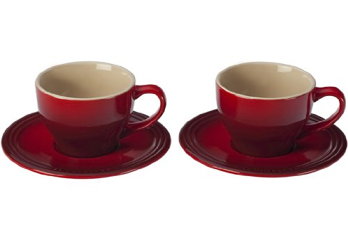 Le Creuset Stoneware Set of 2 Cappuccino Cups and Saucers, Cerise (Cherry Red)