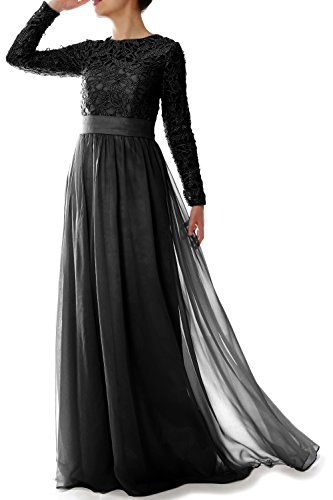 Mother Dress MACloth Gown Party Elegant Long of Formal Sleeve Lace Schwarz Evening Bride qwg6Ytw