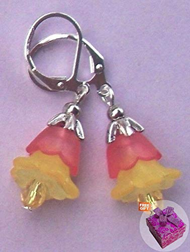 Coral Red & Yellow Flower Crystal Earring Sp Lever Back Earrings For Women Set + Gift Box For Free