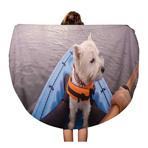 Semtomn 60 Inches Round Beach Towel Blanket West Highland White Terrier Westie Dog Wearing Life Jacket Travel Circle Circular Towels Mat Tapestry Beach Throw