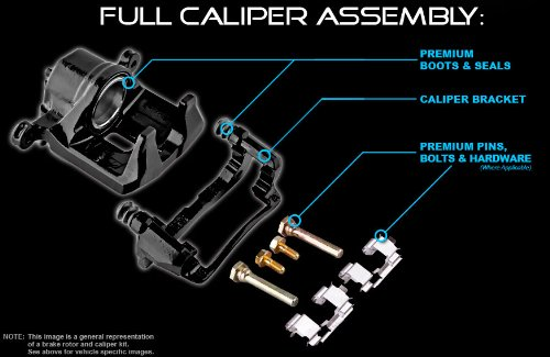 Black Powder Coated Semi-Loaded Caliper Assembly CK00987 REAR Performance 2 2WD 4WD