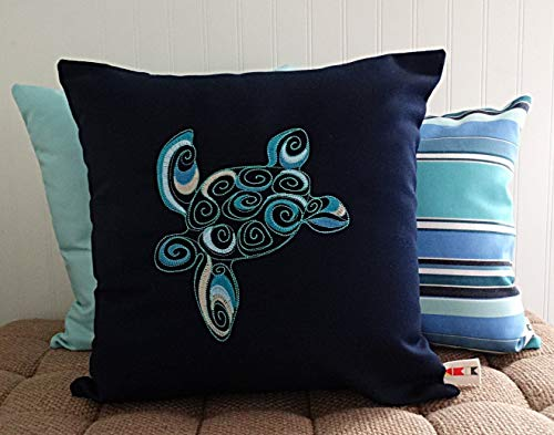 Embroidered Cottage - CELYCASY Turtle Pillow Cover Sunbrella Embroidered Indoor Outdoor Beach House Coastal sea Life Cottage Decor oba Canvas co