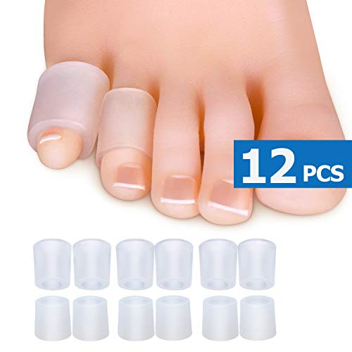 Sumifun Gel Pinky Toe Sleeves, Transparent Toe Cushion for Relief Little Toe, (6PCS Thin+6PCS Thick) Silicone Toe Protectors Blisters, Calluses Toenails Loss, Friction Pain Relief