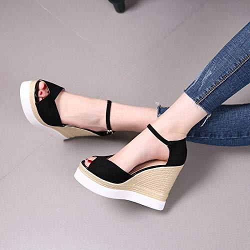 LBTSQ-Hang betuchte betuchte betuchte Sandalen Hochhackige Schuhe mit Dicken Sohlen Wasserdicht 11cm Ein Wort an-Farb-Fisch im Mund Mode Damenschuhe 62647c