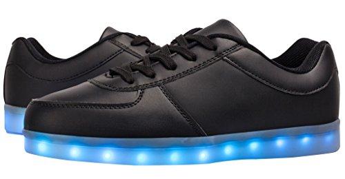 esllla Kleinkind / Kind Energy Light Up Schuhe LED Farbwechsel Jungen  Mädchen blinkende Turnschuhe Schwarz a