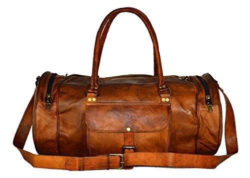 pranjals house Vintage Handcrafted Leather Unisex Duffle Bag Light Brown