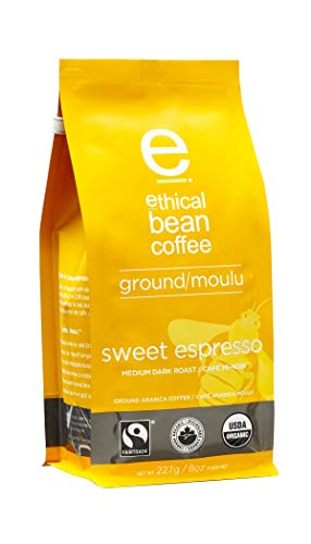 - Ethical Bean Fair Trade Organic Coffee, Sweet Espresso Medium Dark Roast, Ground Espresso Coffee - 8oz (227g) Bag