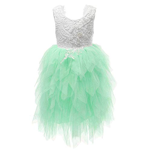 Flower Girl Beaded Peony Lace Tiered Tutu Tulle Party Dress Girls Maxi Dresses (Mint, - Dress Mesh Tiered