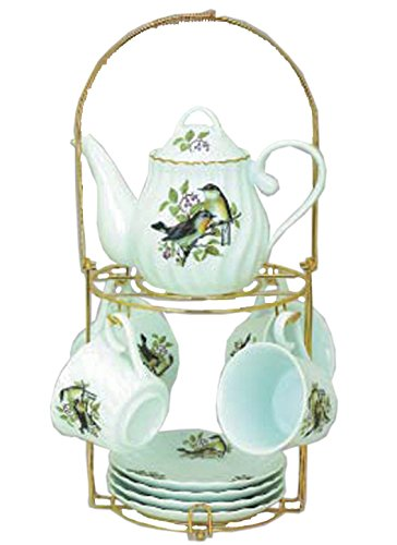 (Green Pastures Wholesale Bird Porcelain Narrow Shape Tea Set, 7-Inch by 5-Inch)