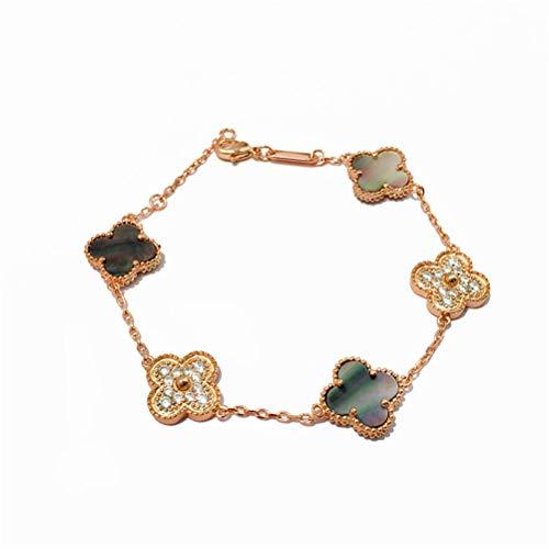Women Red Black Onyx Malachite 18K Gold Plated Four-leaf Clover Diamond Flower Bracelet/Classic Fashion 925 Sterling Silver 4 Leaf Clover Pendant Bracelets (Grey-rose gold)