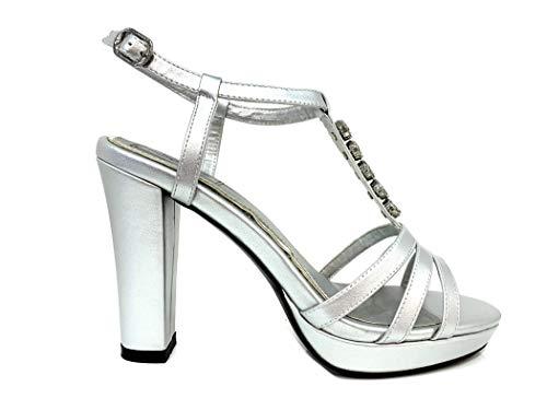 Sandal Shoes Scarpe Elegant Leather Plateau Con Cerimonia Alto Argento T Donna Cristalli Vegan Particolare Crystals Woman Diamonds Particular Elegante Silver Sandali High Heel Sandalo Tacco xfTFWn6n