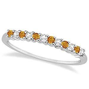 Modern Petite Diamond and Citrine Gemstone Wedding Band Prong Set In Platinum (0.20ct)