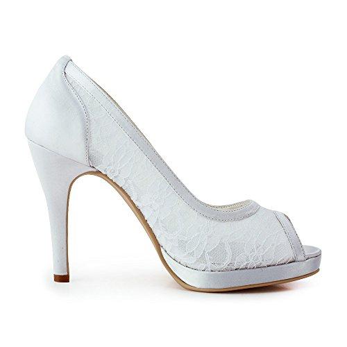 ElegantPark Women EP11084-PF Peep Toe Platform High Heel Lace Satin Wedding Bridal Shoes White fywx7
