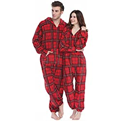 XMASCOMING Women's & Men's Hooded Fleece Onesie Pajamas Red Grey Plaid Size US S